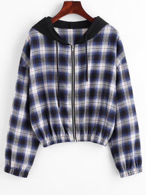 fashion Plaid Hooded Zip Drop Shoulder Jacket - DEEP BLUE M Mobile