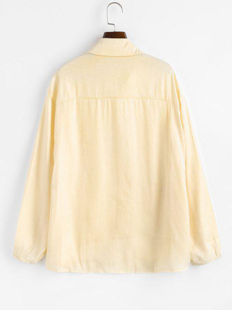women Button Down Front Pockets Shiny Shirt - LIGHT YELLOW S Mobile