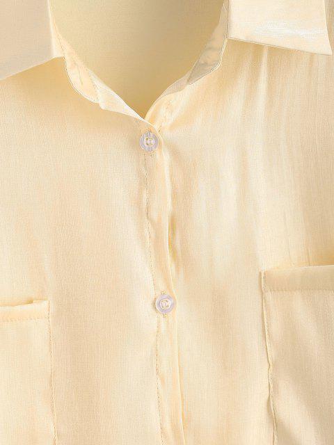 women's Button Down Front Pockets Shiny Shirt - LIGHT YELLOW M Mobile