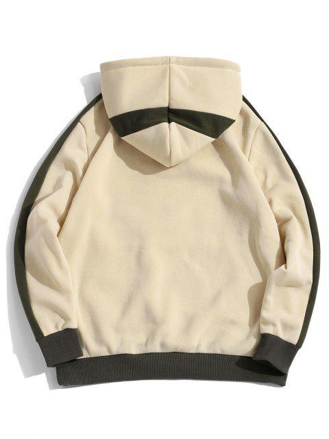 shop ZAFUL Hanzi Embroidered Contrast Fleece Hoodie - LIGHT YELLOW XL Mobile