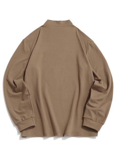 ZAFUL Camiseta de Lana Suelto con Cuello en V y Bordado - café luz XL Mobile