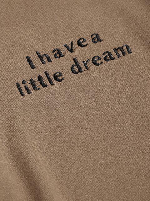 ZAFUL Camiseta de Lana Suelto con Cuello en V y Bordado - café luz S Mobile