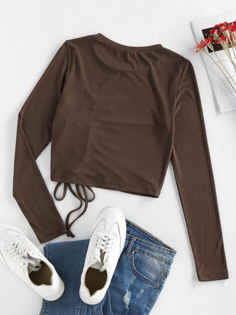 chic ZAFUL Ribbed Cinched Ruched Slim Tee - MOCHA M Mobile