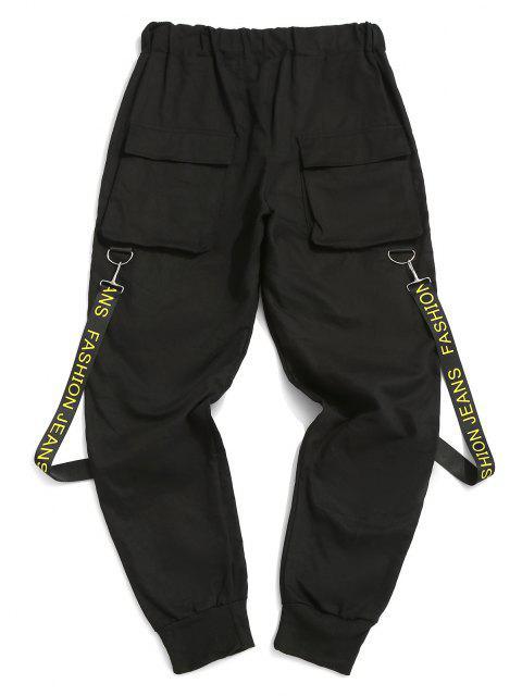 Pantalones con Correa Estampada de Letras - Negro XS Mobile