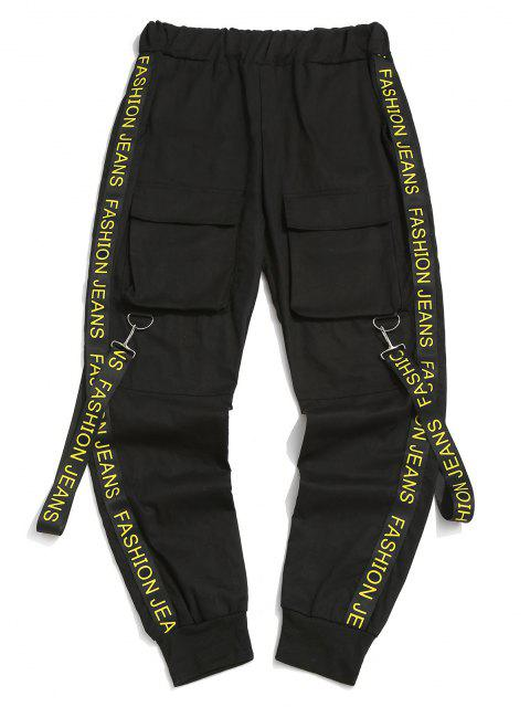 Pantalones con Correa Estampada de Letras - Negro M Mobile