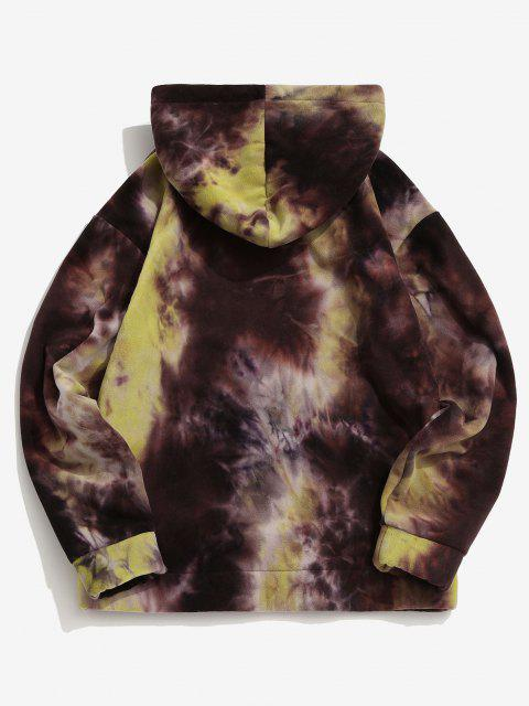 womens Tie Dye Kangaroo Pocket Fleece Hoodie - LIGHT YELLOW L Mobile