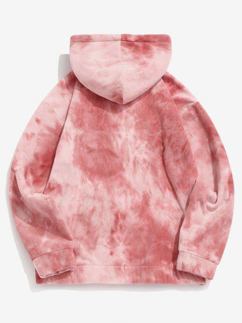 new Tie Dye Kangaroo Pocket Fleece Hoodie - LIGHT PINK L Mobile