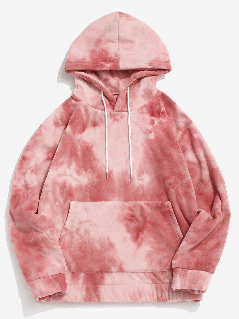 unique Tie Dye Kangaroo Pocket Fleece Hoodie - LIGHT PINK M Mobile