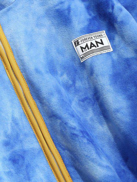 buy Half Zip Tie Dye Fleece Sweatshirt - BLUE 2XL Mobile