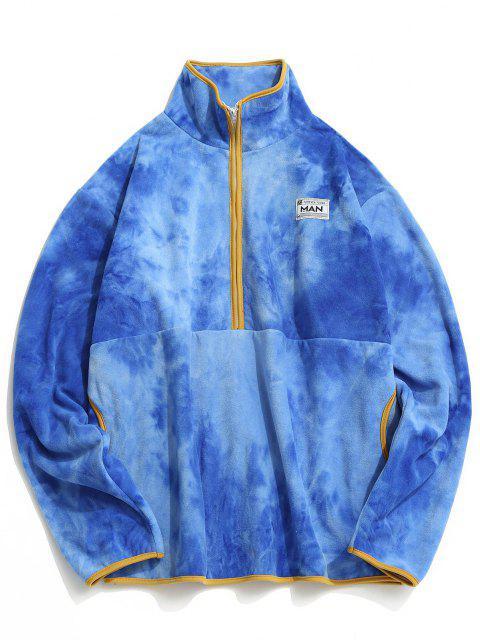 women Half Zip Tie Dye Fleece Sweatshirt - BLUE S Mobile
