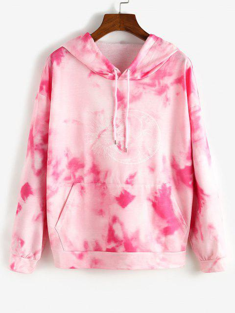 women Tie Dye Sun and Moon Graphic Hoodie - PINK S Mobile