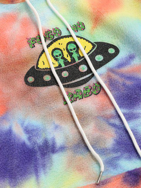 women's ET Alien Spaceship Pattern Tie Dye Fleece Hoodie - YELLOW L Mobile
