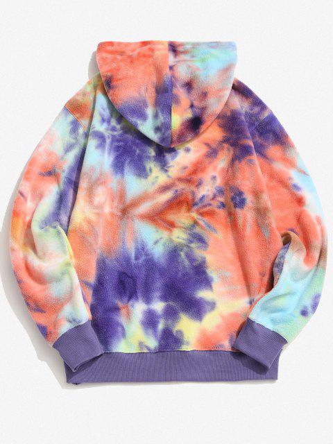 women ET Alien Spaceship Pattern Tie Dye Fleece Hoodie - YELLOW S Mobile