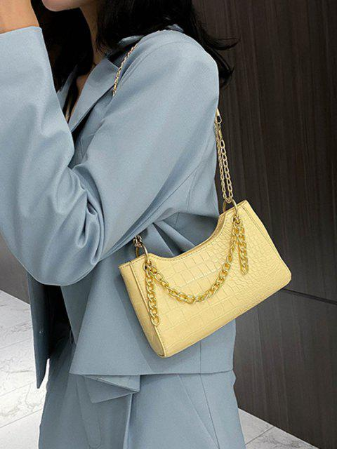 shops Brief Embossed Chain Shoulder Bag - SUN YELLOW  Mobile
