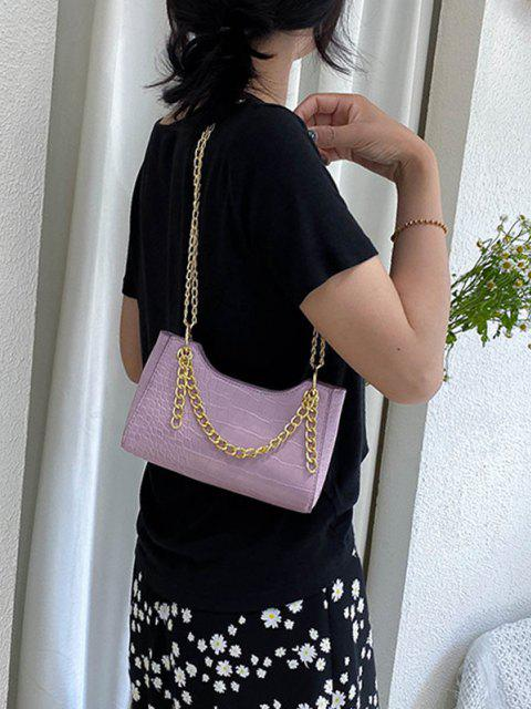 latest Brief Embossed Chain Shoulder Bag - LILAC  Mobile