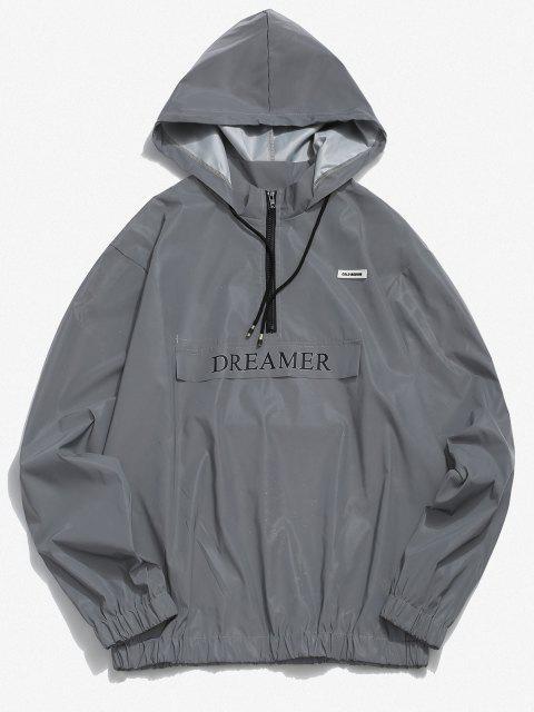 latest Dreamer Letter Half Zipper Luminous Hoodie - LIGHT GRAY 2XL Mobile