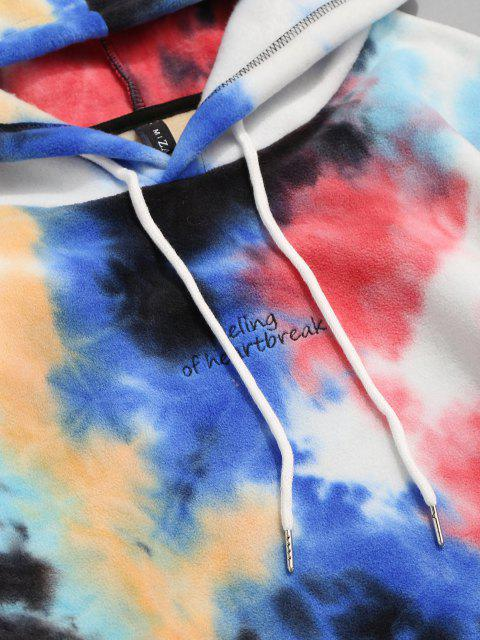 fancy Letter Embroidered Tie Dye Fleece Hoodie - RED L Mobile