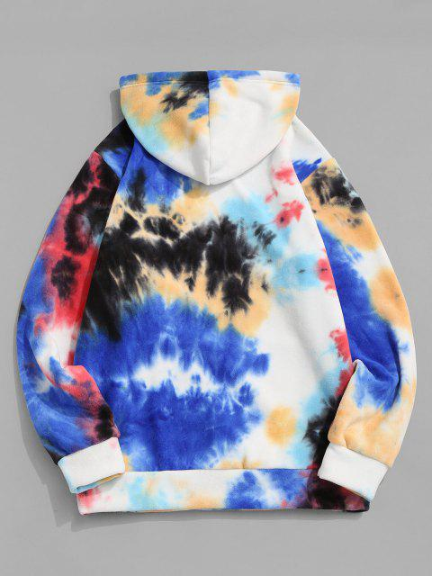 shop Letter Embroidered Tie Dye Fleece Hoodie - RED S Mobile