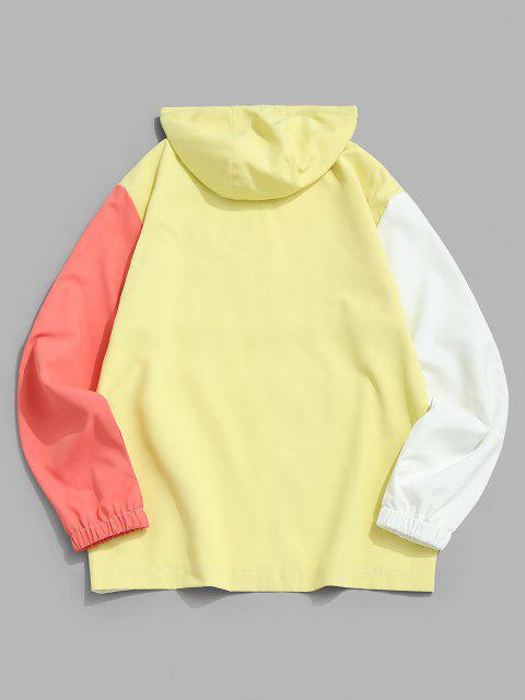 Colorblock Panel Half Zipper Windbreaker Hoodie - الأصفر L Mobile