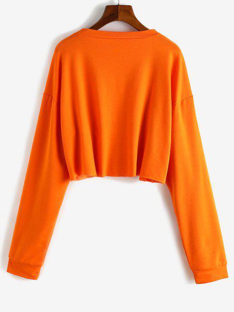 Pullover Oriental Dragon Cropped Sweatshirt - البرتقالي XS Mobile