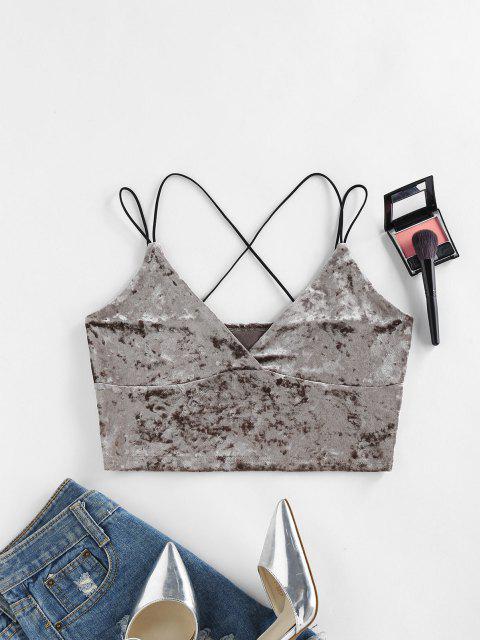 women's ZAFUL Dual Cross Strap Velvet Crop Cami Top - DARK KHAKI XL Mobile