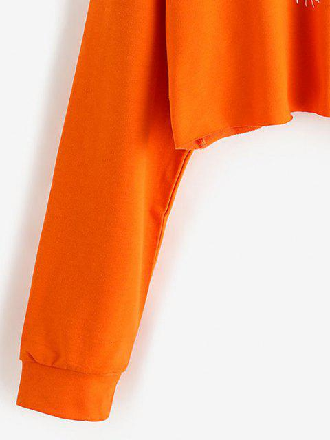new Pullover Oriental Dragon Cropped Sweatshirt - ORANGE L Mobile
