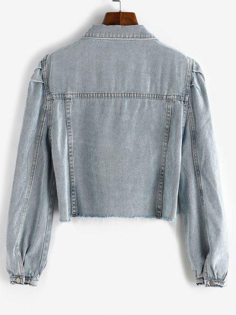 shops Puff Sleeve Frayed Hem Cropped Denim Jacket - BLUE GRAY M Mobile