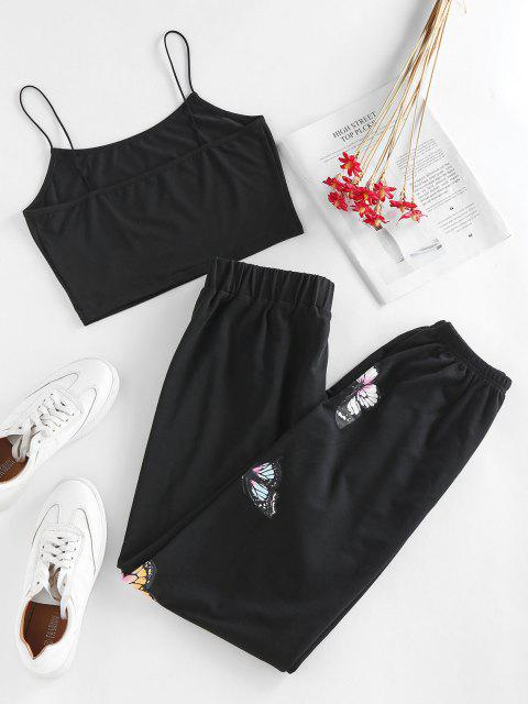 outfits ZAFUL Cami Butterfly Tie Two Piece Pants Set - BLACK M Mobile