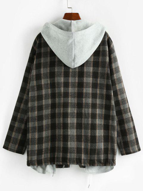 ZAFUL Plaid 2 In 1 Hooded Double Zip Jacket - أسود S Mobile