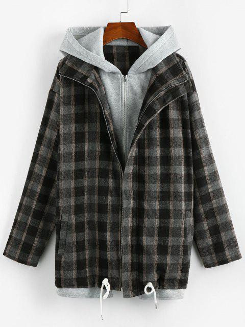 affordable ZAFUL Plaid 2 In 1 Hooded Double Zip Jacket - BLACK M Mobile