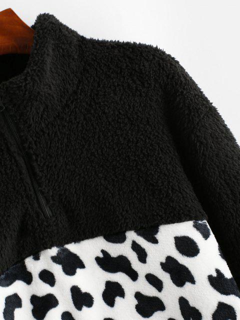 new Leopard Quarter Zip Fluffy Sweatshirt - BLACK M Mobile
