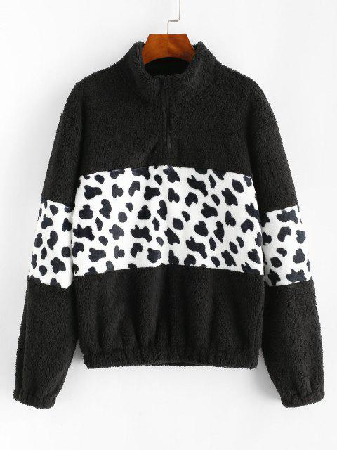 Leopard Quarter Zip Fluffy Sweatshirt - أسود M Mobile