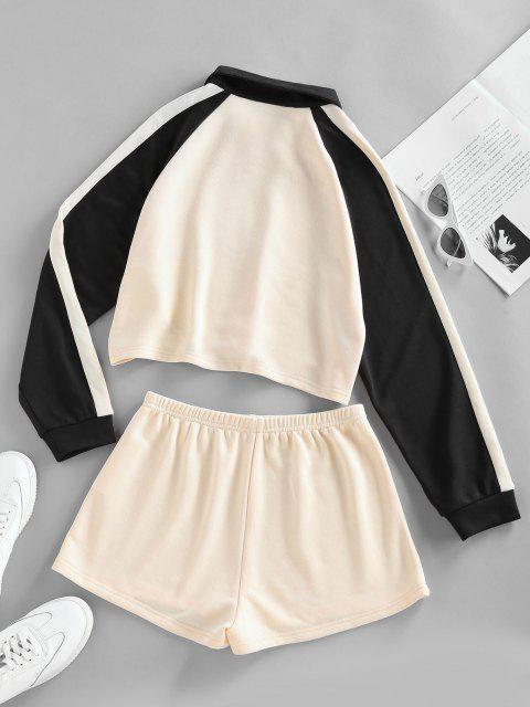 fashion ZAFUL Two Tone Raglan Sleeve Sweatshirt and Shorts Set - CORNSILK S Mobile