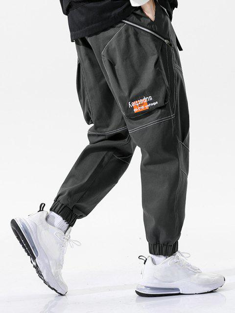 shop Letter Embroidery Stitching Zipper Pocket Cargo Pants - GRAY L Mobile
