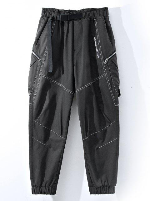 latest Letter Embroidery Stitching Zipper Pocket Cargo Pants - GRAY XL Mobile