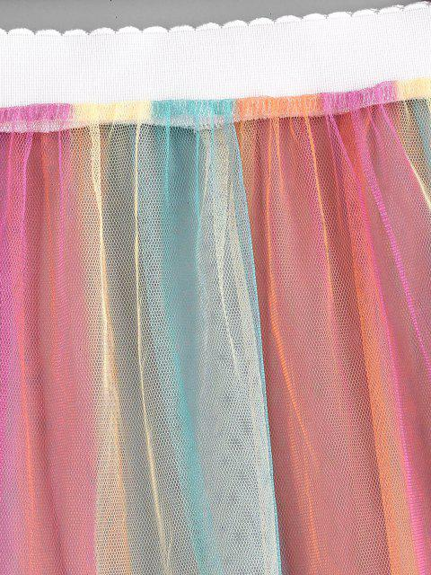 women's Colorful Striped Sheer Mesh Beach Skirt - MULTI ONE SIZE Mobile