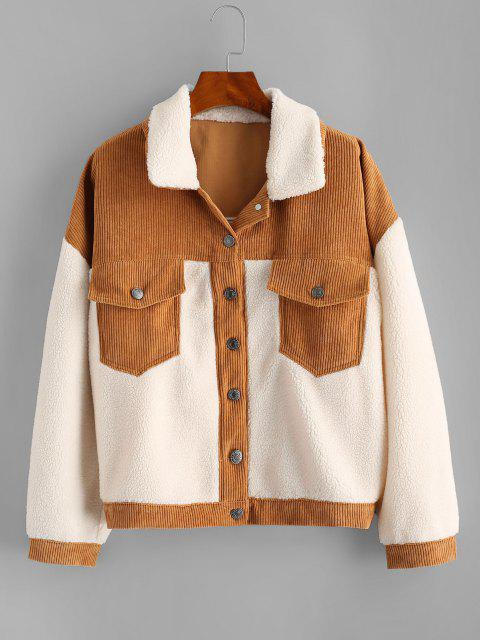 lady Corduroy Panel Faux Shearling Cargo Jacket - WHITE S Mobile
