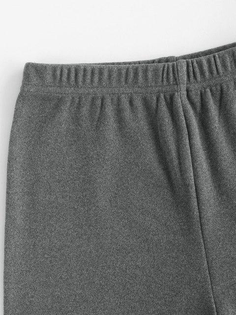 fashion Flocking High Waisted Biker Shorts - GRAY M Mobile