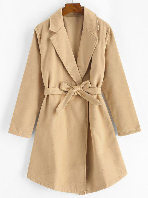 Snap Button Belted Wool Blend Coat - القهوة الخفيفة XL Mobile