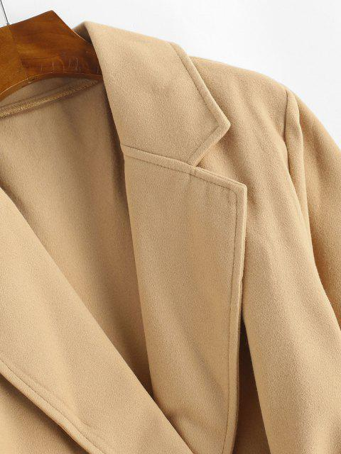 chic Snap Button Belted Wool Blend Coat - LIGHT COFFEE XL Mobile