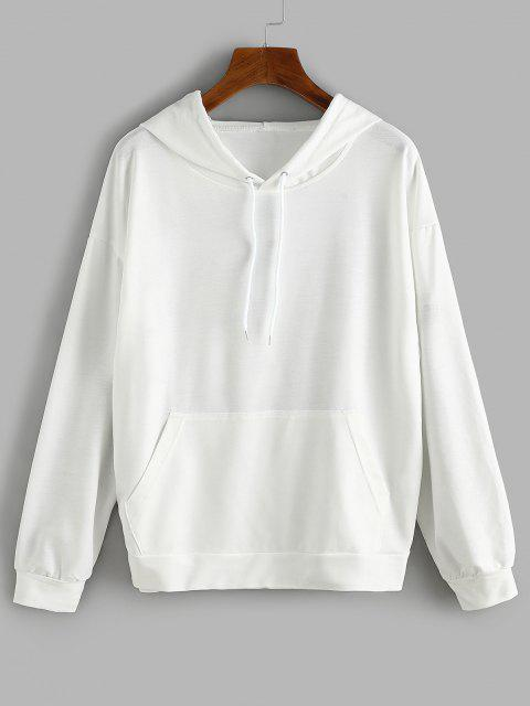 Front Pocket LIKE A GIRL Butterfly Back Hoodie - أبيض L Mobile