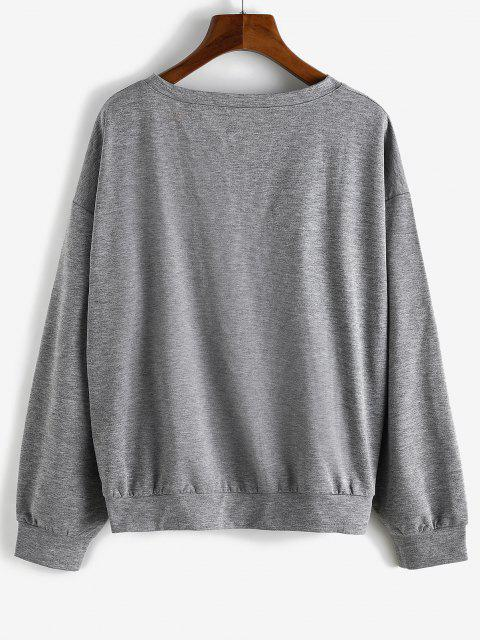 Sweatshirt Ample Graphique Huit Diagramme - Gris S Mobile