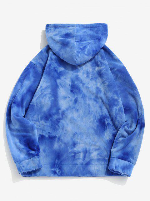 womens Tie Dye Kangaroo Pocket Fleece Hoodie - BLUE L Mobile