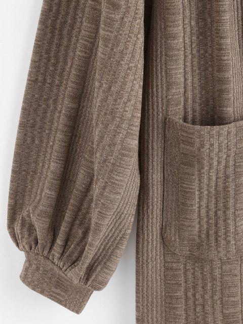 online Rib-knit Front Pocket Lantern Sleeve Cardigan - COFFEE L Mobile