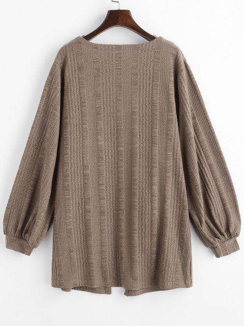 hot Rib-knit Front Pocket Lantern Sleeve Cardigan - COFFEE M Mobile