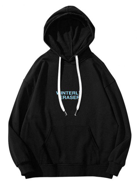 affordable Winterly Eraser Lightning Pattern Graphic Hoodie - BLACK M Mobile
