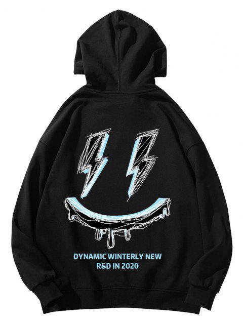 buy Winterly Eraser Lightning Pattern Graphic Hoodie - BLACK XS Mobile