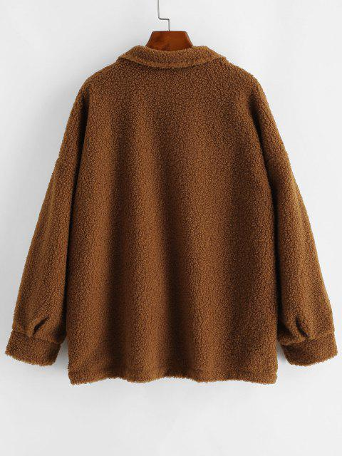 Snap Button Flap Detail Teddy Coat - قهوة M Mobile