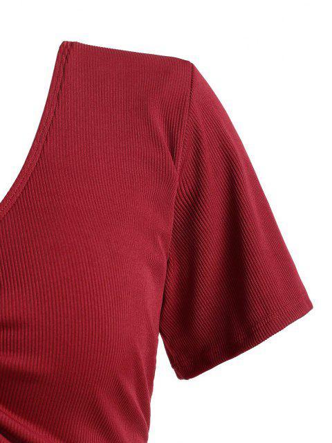 ZAFUL Haut de Maillot de Bain Côtelé Sanglé de Grande Taille - Rouge XXL Mobile