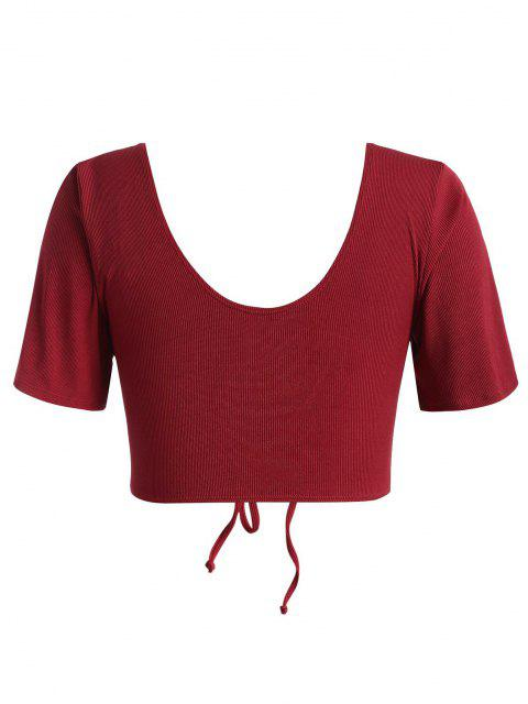trendy ZAFUL Plus Size Ribbed Cinched Swim Top - RED XXXL Mobile